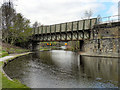 SK3888 : Sheffield and Tinsley Canal, Railway Bridge at Attercliffe by David Dixon