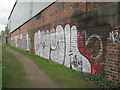 SK3788 : Graffiti by the Sheffield & Tinsley Canal by Robin Stott