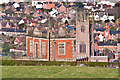 SO4973 : Elan Valley Aqueduct valve house and St Laurence's Church, Ludlow by Ian Capper