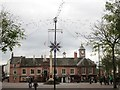 NY4055 : Carlisle Market Cross, Old Town Hall and Christmas Decorations by Graham Robson