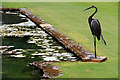 SY7794 : Metalwork heron, Athelhampton House, Dorset by Christine Matthews