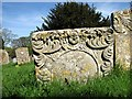 TL8262 : Old gravestone in St Leonard's churchyard by Evelyn Simak