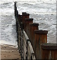 NZ3279 : Wooden Groynes by Christine Westerback