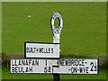 SN9856 : Road sign on the B4358 near Llanafarn-fawr, Powys  : Week 18