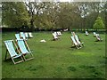 TQ2980 : Empty deck chairs in Green Park by John Darch