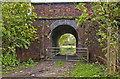 SJ6796 : The Glazebrook Trail passes under the railway by Ian Greig