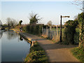 SP3065 : Towpath west of the railway aqueduct by Robin Stott