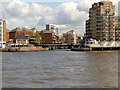 TQ3680 : River Thames, Entrance to Limehouse Marina by David Dixon
