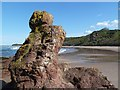 NT6084 : A small rock pinnacle at Seacliff Beach by Walter Baxter