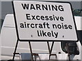 "TQ0984 : ""Excessive aircraft noise"" warning, A40 by RAF Northolt by David Hawgood"