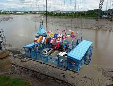 ST3186 : The gondola leaving the western end of Newport Transporter Bridge by Robin Drayton