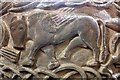 SO6645 : Winged Bull (St Luke) on the Castle Frome font by Bob Embleton