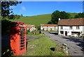 SS7947 : Telephone box and Lorna Doone Farm, Malmsmead, Exmoor : Week 25