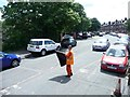 SE3031 : Volunteer flag man, Moor Road level crossing by Christine Johnstone