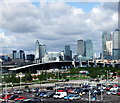 TQ3880 : Looking toward Canary Wharf from Emirates Air Line cable car by PAUL FARMER