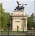 TQ2879 : Victory Arch, Hyde Park Corner, from the top deck of a bus by Christopher Hilton