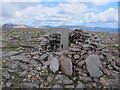 NN9592 : Cylindrical trig point on Beinn Bhrotain by Hugh Venables