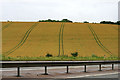 SU4980 : Field tracks and crash barrier by David Lally