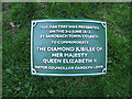 SJ7661 : Queen Elizabeth's tree - plaque by Stephen Craven