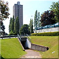 ST2995 : Underpass and a view of The Tower Block, Cwmbran by John Grayson