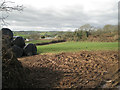 SX8453 : Corner of a small field with bales, Dittisham Farm by Robin Stott