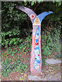 TQ7570 : National cycle network milepost at Upper Upnor by Oast House Archive