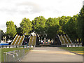 TQ3877 : Temporary bridges over Romney Road by Stephen Craven