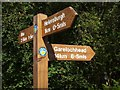 NS2984 : Three Lochs Way signpost by Lairich Rig