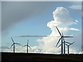 NT8367 : Turbines at Drone Hill Wind Farm by Walter Baxter