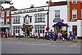 SO9445 : Pershore Plum Fayre Day 2012 (1) - The Big Plum at the Angel Inn & Posting House by P L Chadwick