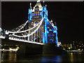TQ3380 : Tower Bridge and blue lights, London by David Anstiss