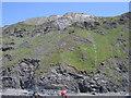 SN5882 : Aberystwyth grits - cliff strata by Rudi Winter