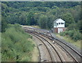 SK2478 : Railway curve and signal box near Grindleford station by Andrew Hill