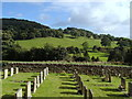 SK2381 : Hathersage churchyard and view by Andrew Hill