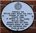 TR0161 : Plaque on William Gibbs School, Faversham  by David Anstiss