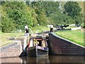 SO9768 : Narrowboat emerging from Lock 38 by Christine Johnstone