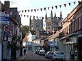 SZ0199 : Wimborne Minster: bunting in East Street by Chris Downer