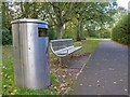 SP1479 : Stainless steel litter bin and bench, Tudor Grange Park by David P Howard
