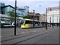 SJ8498 : Tram at Piccadilly Gardens by Paul Gillett