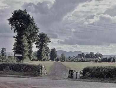 SO8651 : Westward to Malvern Hills, down a farm lane near Kempsey, 1960 by Ben Brooksbank