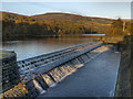 SK0397 : Valehouse Reservoir Weir by David Dixon