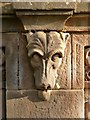 NS3979 : Smollett Mausoleum: dog's-head detail by Lairich Rig
