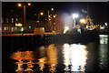 HU4741 : Fishing boat in Albert Dock, Lerwick, at night by Mike Pennington