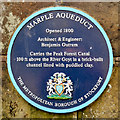 SJ9590 : Marple Aqueduct (blue plaque) by David Dixon