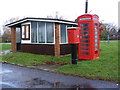 TL2759 : Bus Shelter, Telephone Box &amp; Eltisley Postbox by Adrian Cable