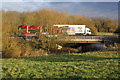 SP4807 : Car transporter overtakes Tesco lorry on the A34 by Roger Templeman