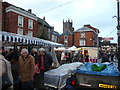 SO5174 : Part of the Saturday market in Ludlow in December by Jeremy Bolwell