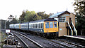 SJ7578 : Train, Knutsford East signal box by Albert Bridge