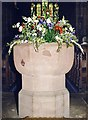 SJ7652 : St Bertoline, Barthomley - Font by John Salmon