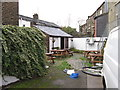 SK0393 : The beer garden at the Crown Inn, Glossop by Ian S